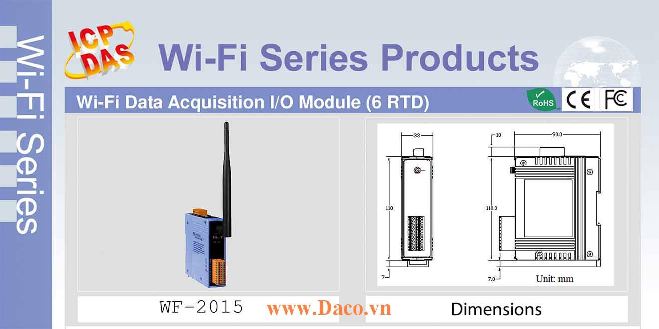 WF-2015 Remote IO Wifi IO Công suất=8dBm Khoảng cách=50m AI=6 RTD