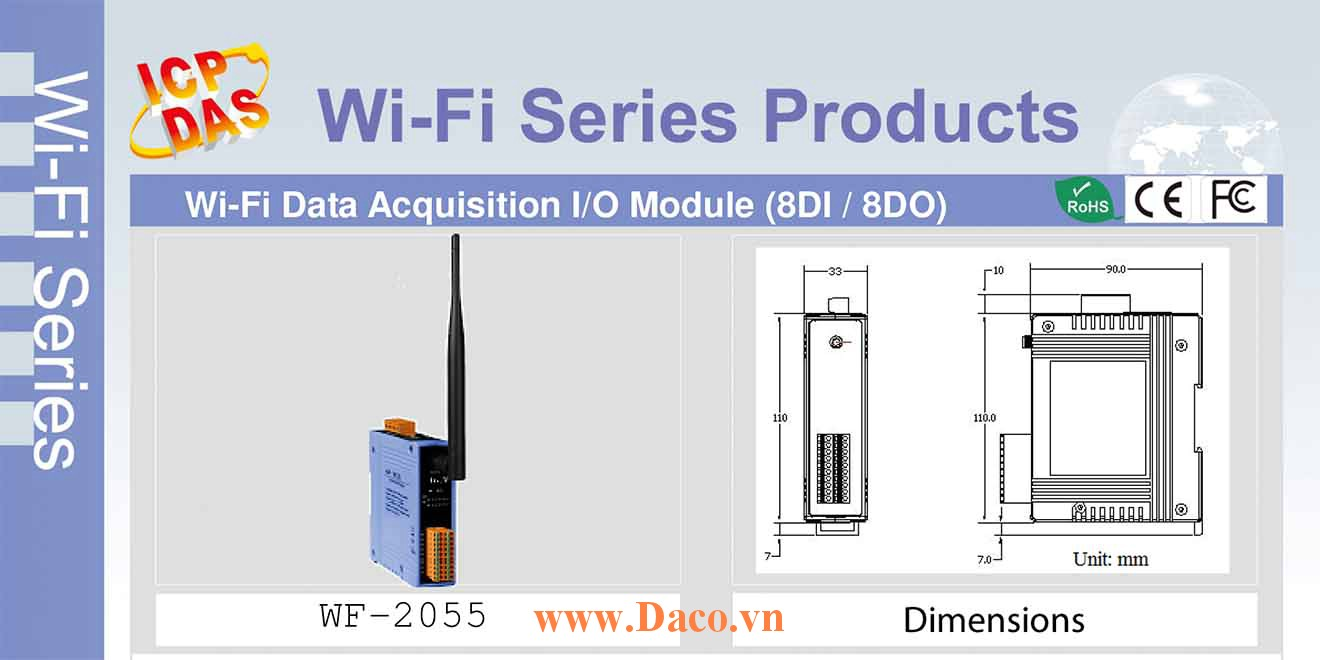 WF-2055 Remote IO Wifi IO Công suất=8dBm Khoảng cách=50m DI=8 Dry, Wet Sink/Source, DO=8 Open Collector  Sink 700mA