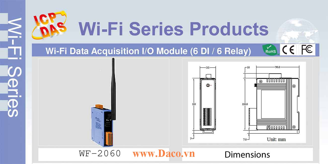 WF-2060 Remote IO Wifi IO Công suất=8dBm Khoảng cách=50m DI=6 Dry, Wet Sink/Source, DO=6 Power Relay 5A