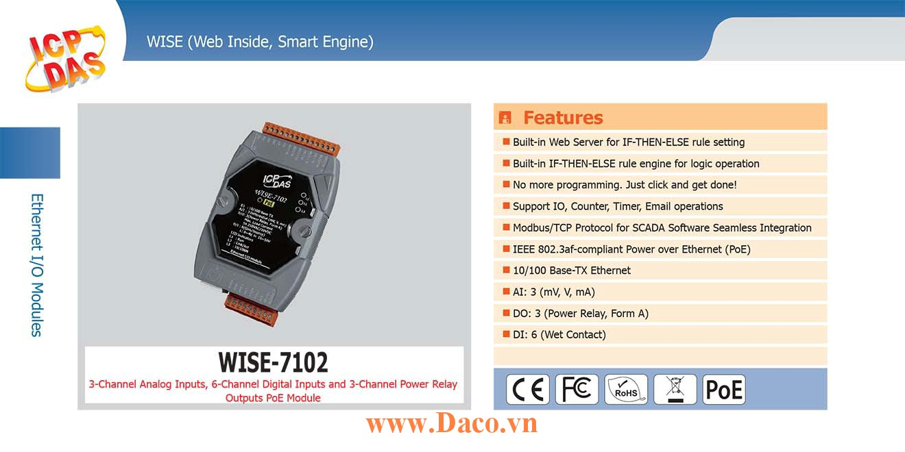 WISE-7102 Remote IO Module 10/100 Base-TX PoE DI=6, DO=3, AI=3