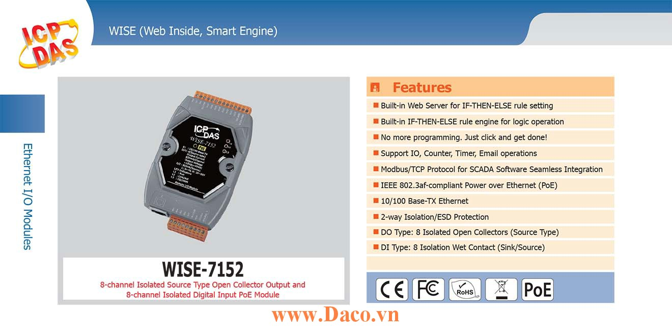 WISE-7152 Remote IO Module 10/100 Base-TX PoE DI=8, DO=8 (Source Type)