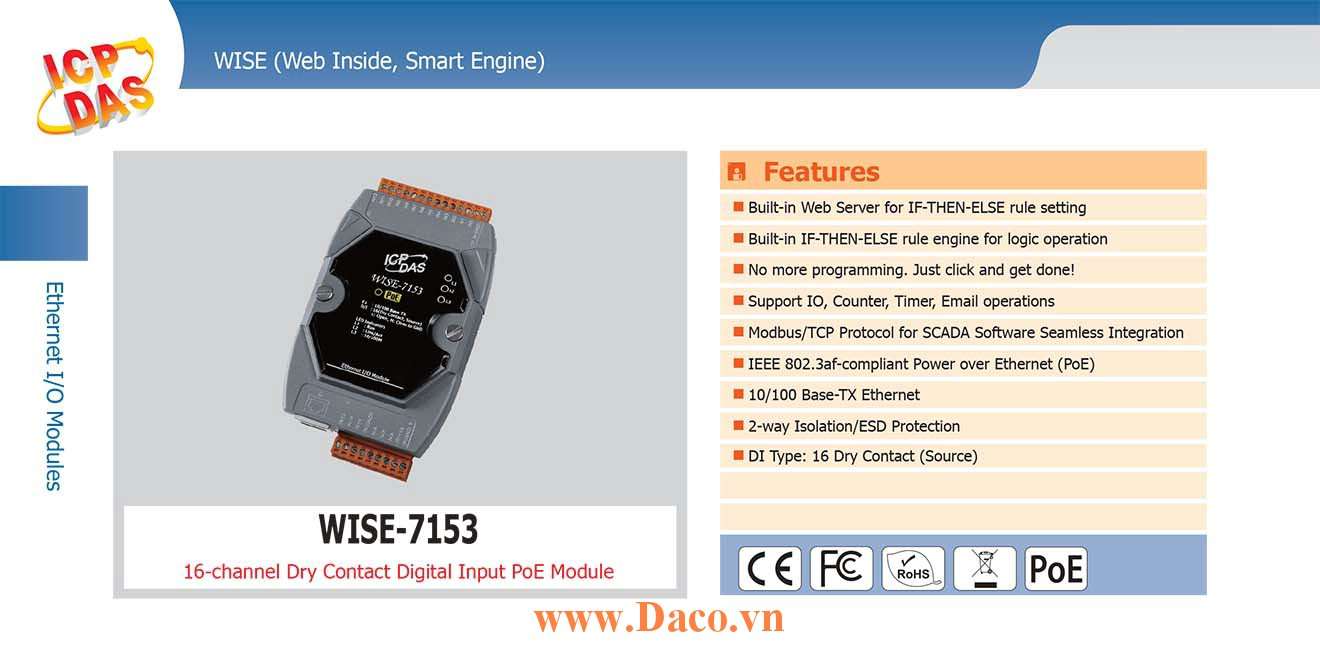 WISE-7153 Remote IO Module 10/100 Base-TX PoE DI=16 (Dry Contact)