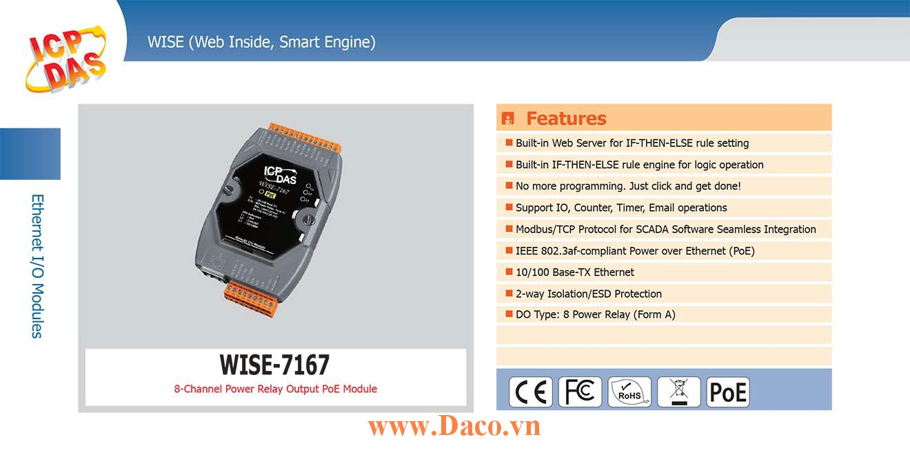 WISE-7167 Remote IO Module 10/100 Base-TX PoE DO=8 (Power Relay)