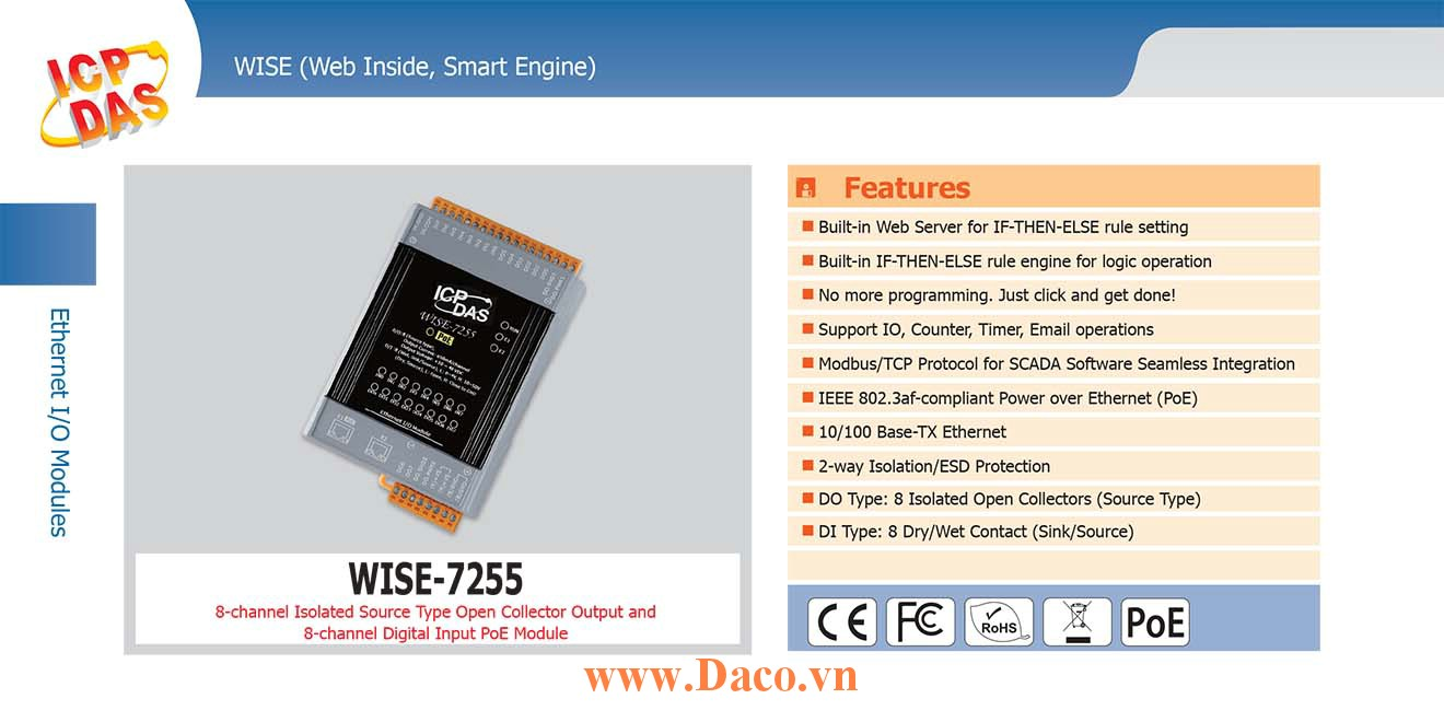 WISE-7255 Remote IO Module 10/100 Base-TX PoE DI=8, DO=8 (Source Type)