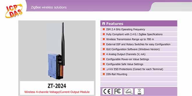 ZT-2024 Remote IO ZigBee AI/O Công suất =11dBm Khoảng cách=700m AI=4 Voltage, Current