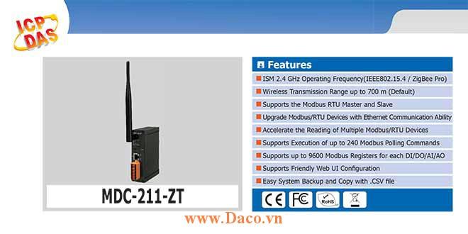 MDC-211-ZT Bộ tập trung ZigBee Modbus Công suất Wifi=11dBm Khoảng cách=700m , 1xRS232, 1xRS485, 1xLAN