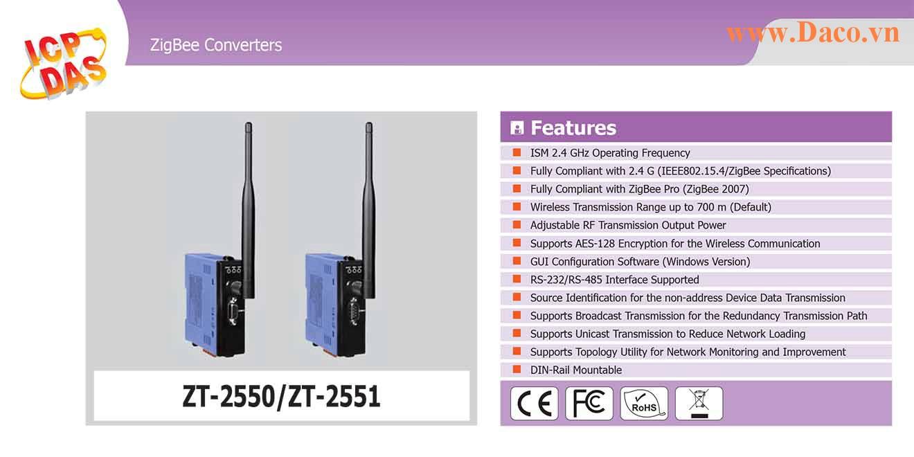 ZT-2551 Bộ chuyển đổi giao thức sang ZigBee Công suất Wifi=11dBm Khoảng cách=700m Giao thức RS232, RS485