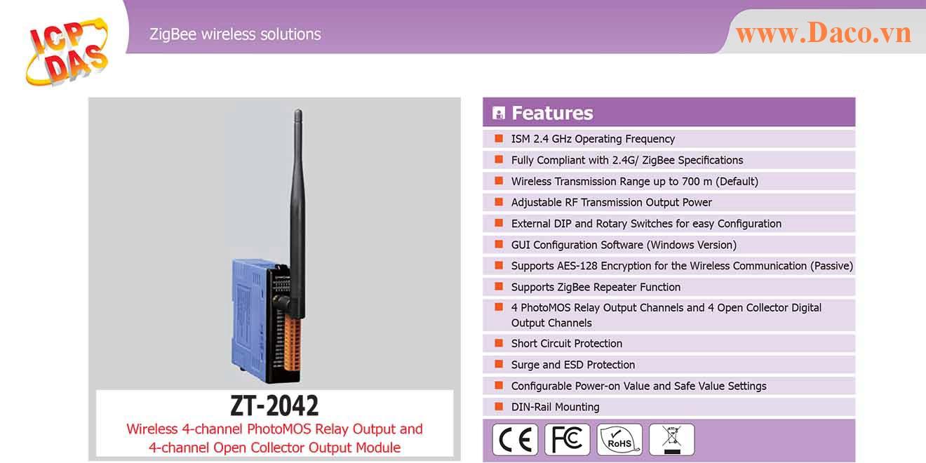 ZT-2042 Remote IO ZigBee DI/O Công suất Wifi=11dBm Khoảng cách=700m DO=4 PhotoMOS Relay, 4 Sink 700mA