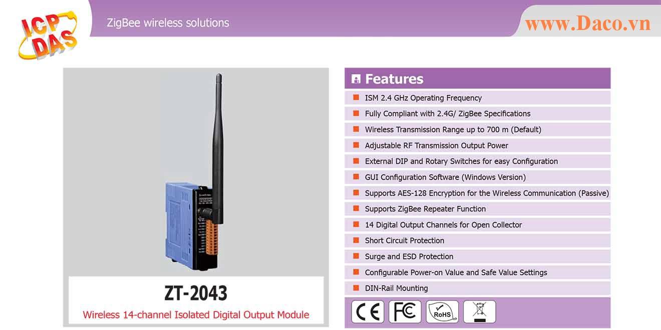 ZT-2043 Remote IO ZigBee DI/O Công suất Wifi=11dBm Khoảng cách=700m DO=14 Sink