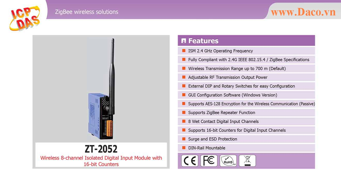 ZT-2052 Remote IO ZigBee DI/O Công suất Wifi=11dBm Khoảng cách=700m DI=8  Wet Contact, 16 Bit Counter