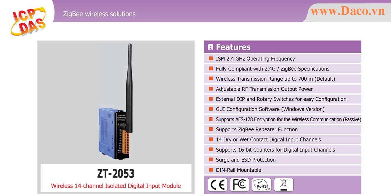 ZT-2053 Remote IO ZigBee DI/O Công suất Wifi=11dBm Khoảng cách=700m DI=14 Sink/Source
