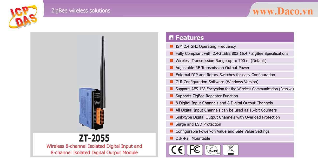 ZT-2055 Remote IO ZigBee DI/O Công suất Wifi=11dBm Khoảng cách=700m DI=8 Sink/Source , DO=8 Sink 650mA