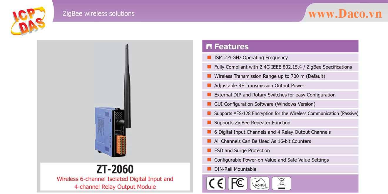 ZT-2060 Remote IO ZigBee DI/O Công suất Wifi=11dBm Khoảng cách=700m DI=6 Sink/Source DO=4 Relay