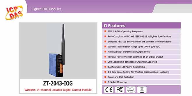 ZT-2043-IOG Remote IOG ZigBee DI/O Công suất =11dBm Khoảng cách=700m DO=14 Sink 700mA