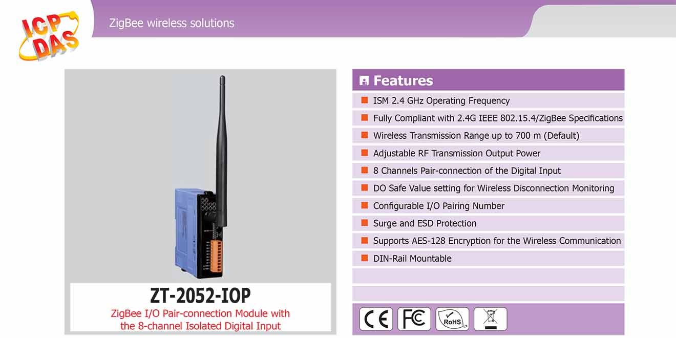 ZT-2052-IOP Remote IOP ZigBee DI/O Công suất =11dBm Khoảng cách=700m DI=8 Sink/Source