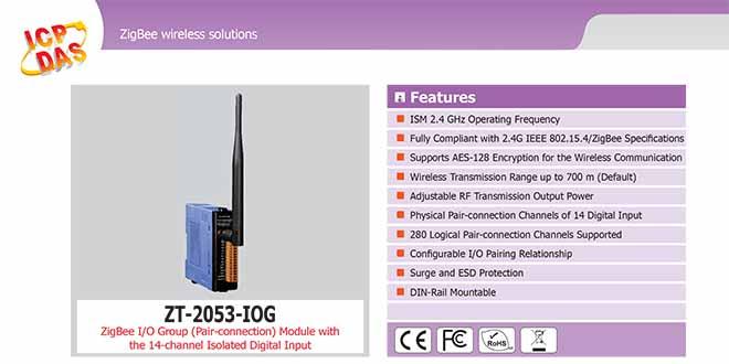ZT-2053-IOG Remote IOG ZigBee DI/O Công suất =11dBm Khoảng cách=700m DI=14 Sink/Source