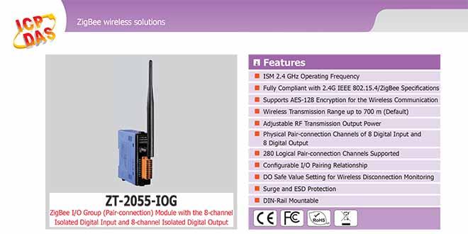 ZT-2055-IOG Remote IOG ZigBee DI/O Công suất =11dBm Khoảng cách=700m DI=8 Sink/Source , DO=8 Sink 700mA