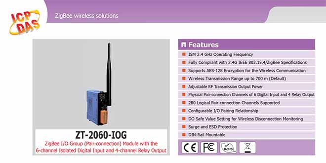 ZT-2060-IOG Remote IOG ZigBee DI/O Công suất =11dBm Khoảng cách=700m DI=6 Sink/Source , DO=4 Relay 5A