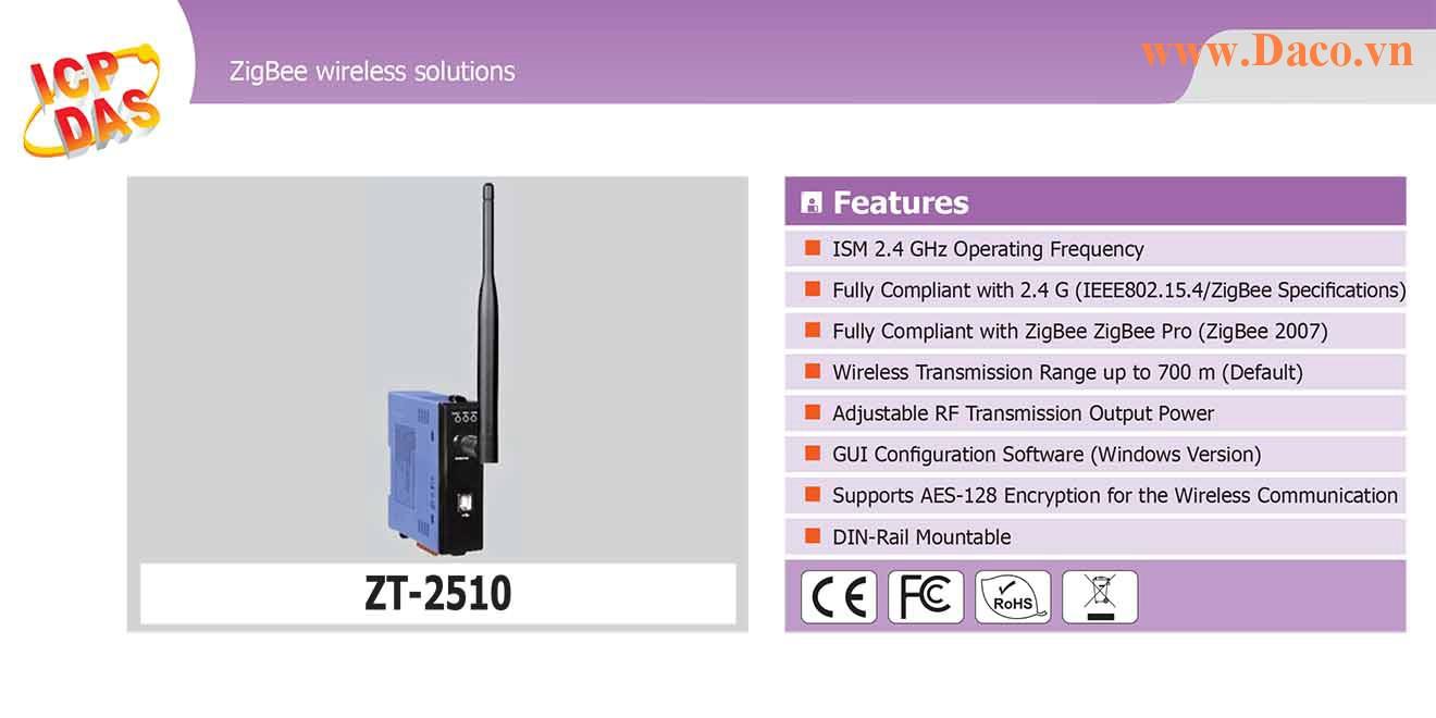ZT-2510 Trạm lặp sóng Wifi ZigBee Công suất Wifi=11dBm Khoảng cách=700m Giao tiếp USB