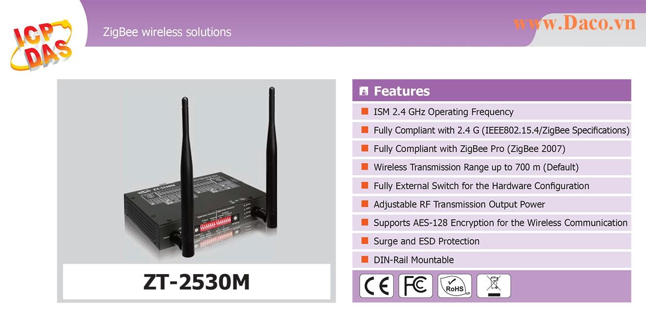 ZT-2530M Trạm lặp sóng Wifi ZigBee Công suất Wifi=11dBm Khoảng cách=700m Giao tiếp USB