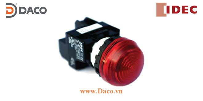 YW1P-2EQ Đèn báo vòm IDEC không biến thế, IP 65 ngoài mặt tủ
