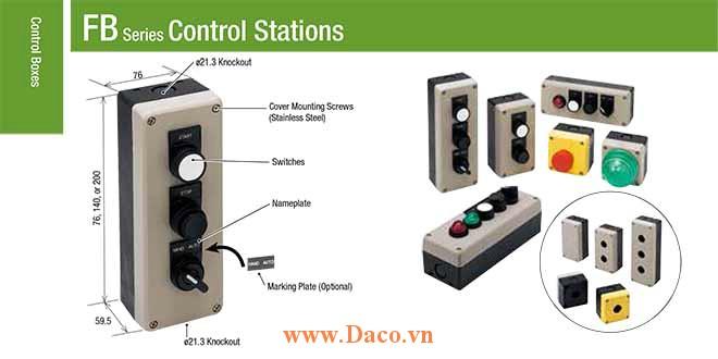 FB Hộp nút nhấn IDEC 1-2-3-4-5 lỗ, Nhựa Φ22