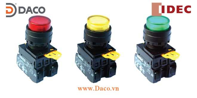 YW1L-M2E Nút nhấn nhả có đèn, loại lồi Φ22 IDEC YW1L-M2E