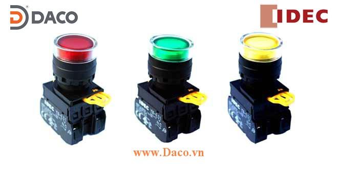 YW1L-MF2E Nút nhấn nhả có đèn, loại phẳng Φ22 IDEC YW1L-MF2E