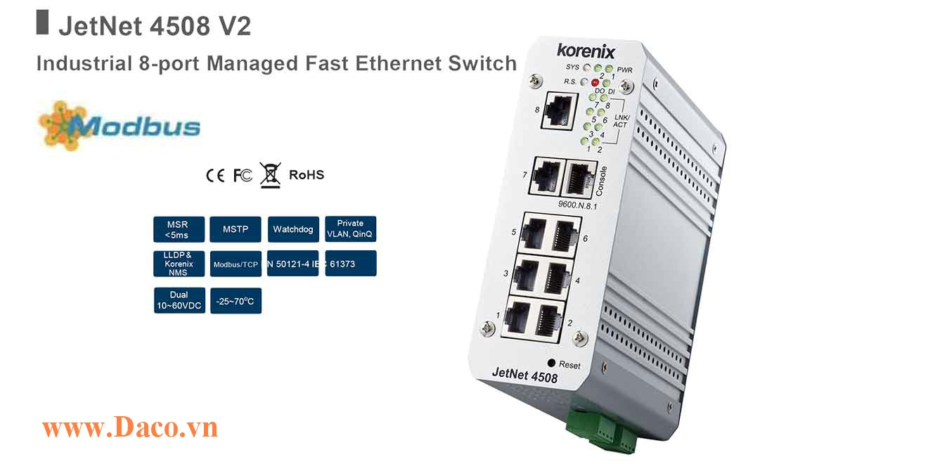 JetNet 4508 Managed Switch công nghiệp Korenix 8 ETN Port