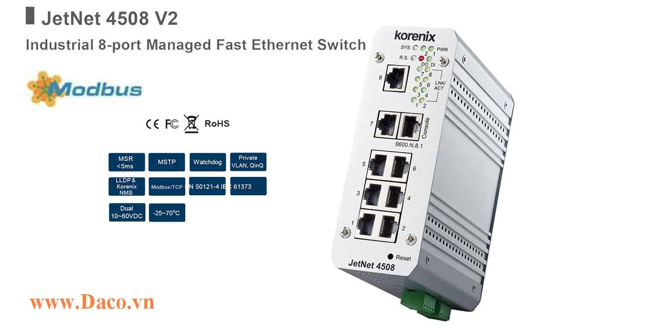 JetNet 4508 Managed Switch công nghiệp Korenix 8 ETN Port