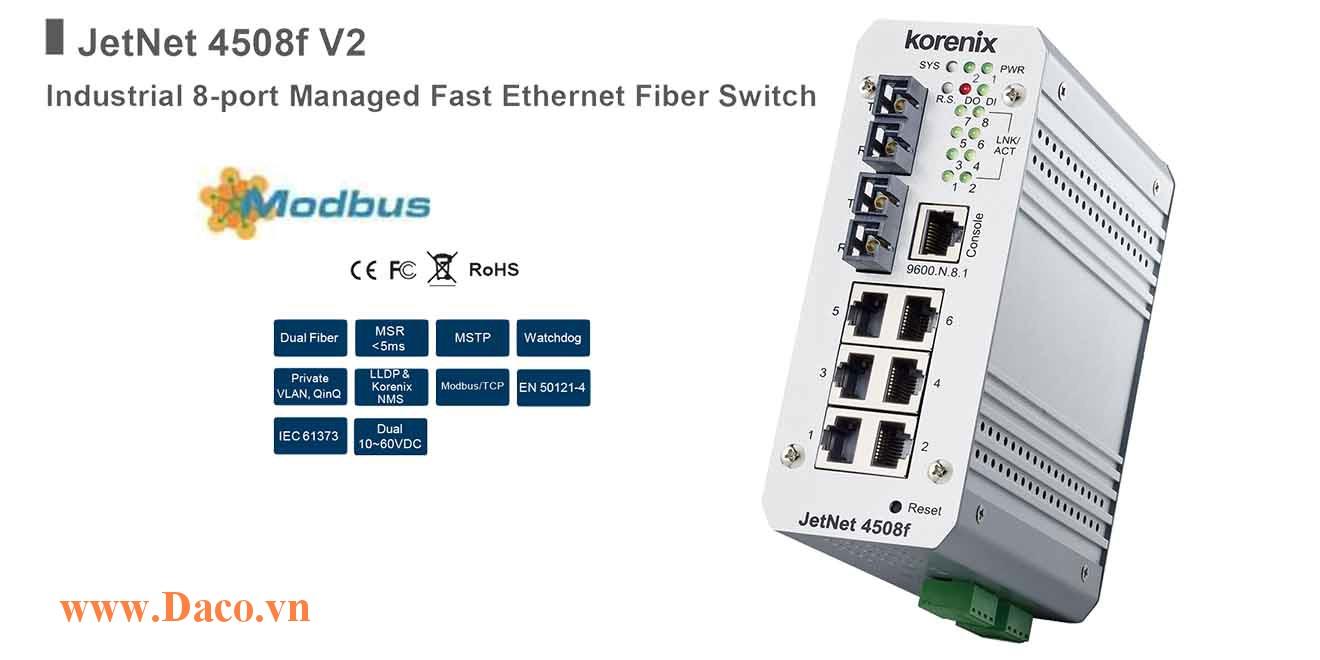 JetNet 4508f Managed Switch công nghiệp Korenix 8 FE Port