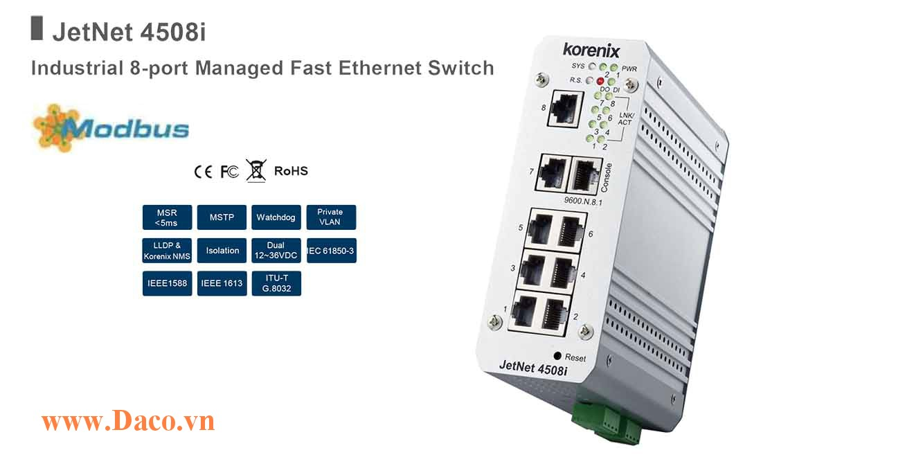 JetNet 4508i Managed Switch công nghiệp Korenix 8 FE Port