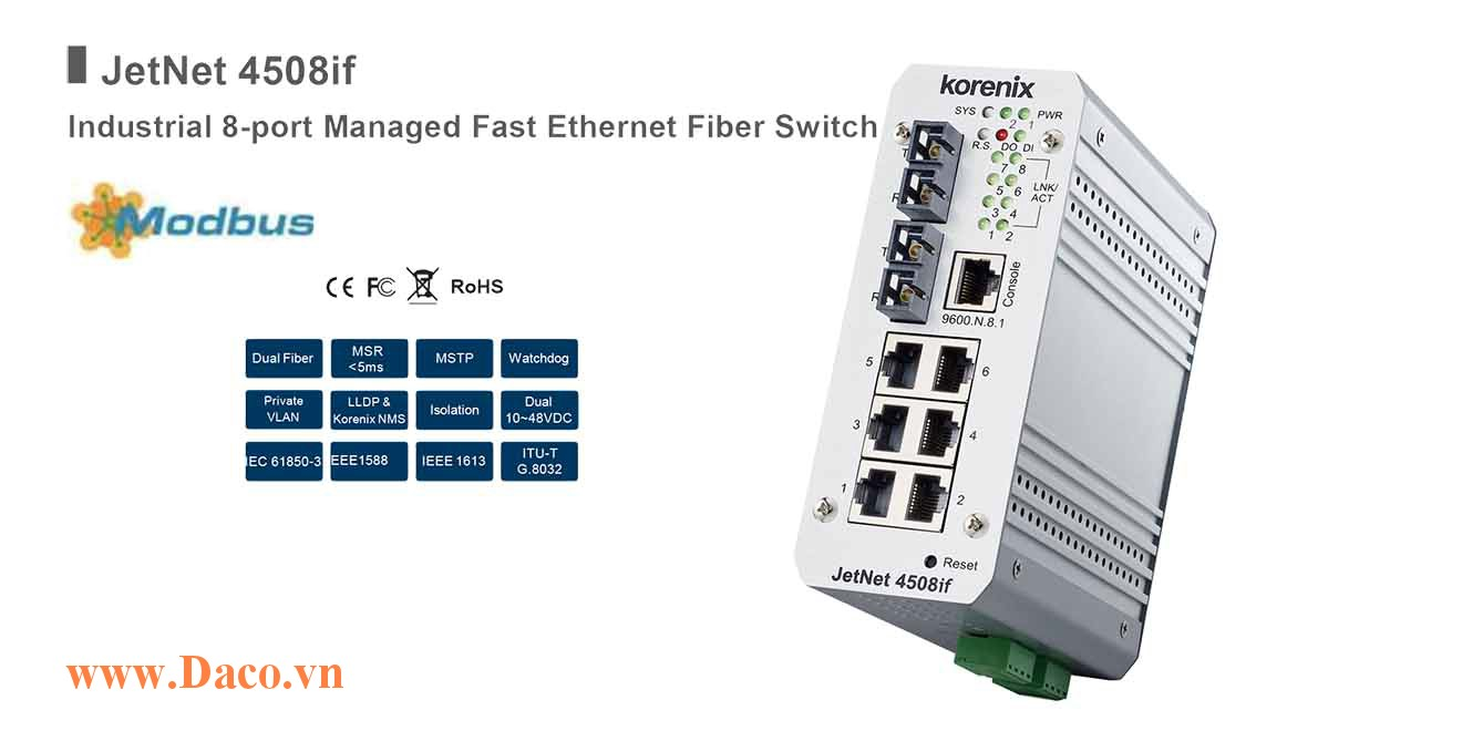 JetNet 4508if Managed Switch công nghiệp Korenix 8 FE Port