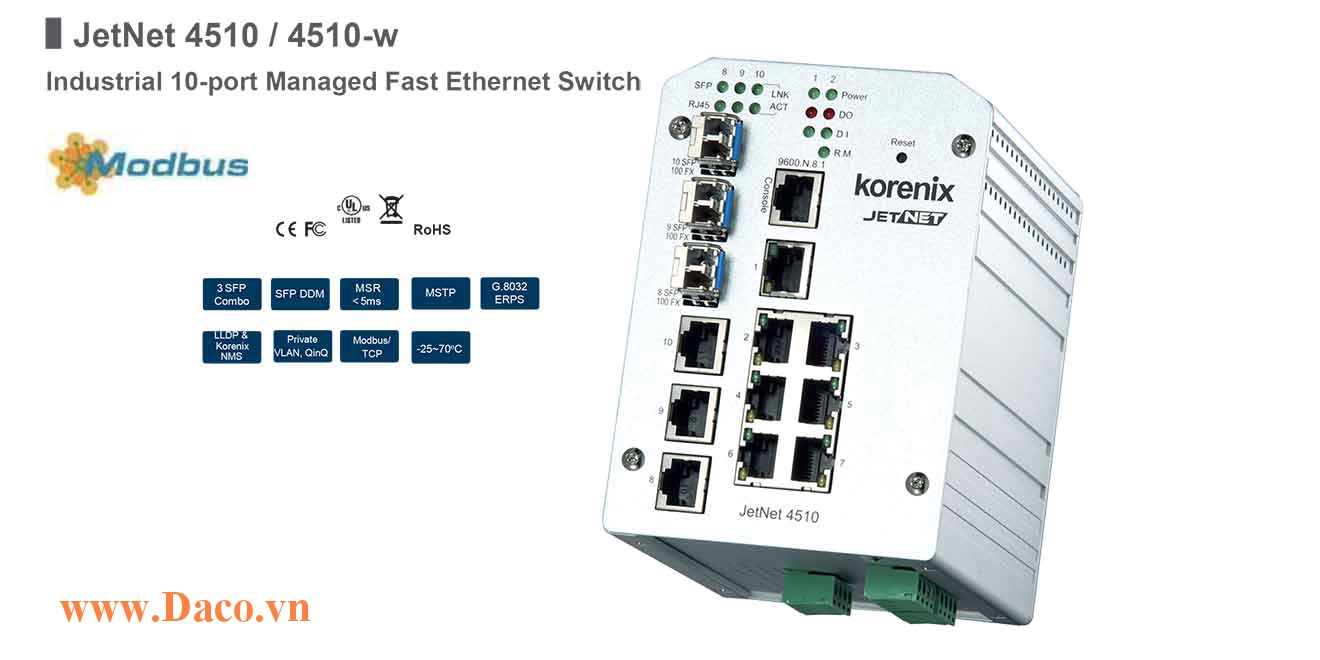 JetNet 4510 Managed Switch công nghiệp Korenix 10 FE Port