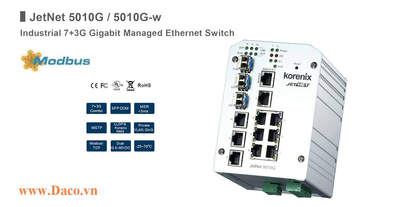 JetNet 5010G Managed Switch công nghiệp Korenix 7 FE, 3GbE Port