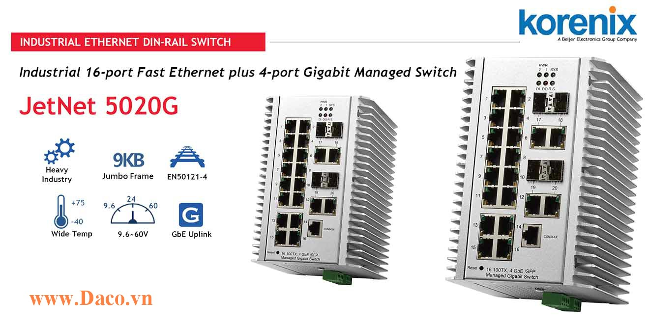 JetNet 5020G Managed Switch công nghiệp Korenix 16 FE ,4 GbE Port