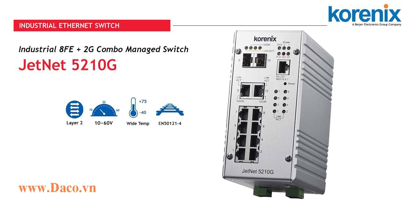 JetNet 5210G Managed Switch công nghiệp Korenix 8 FE, 2GbE Port