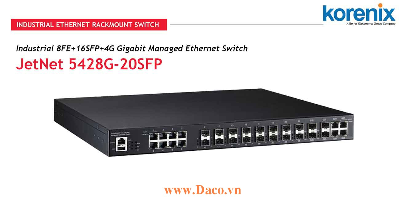 JetNet 5428G V2 Managed Switch công nghiệp Korenix 24 FE, 4GbE Port