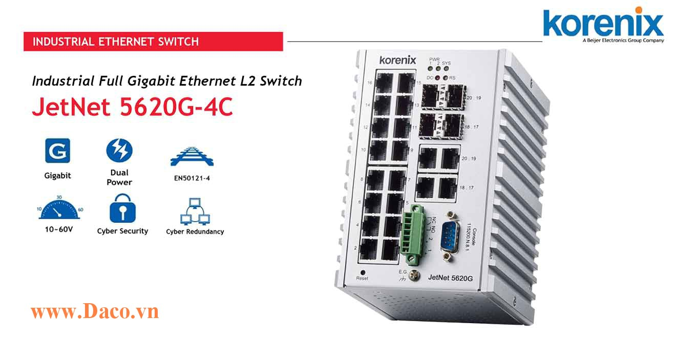 JetNet 5620G-4C Managed Switch công nghiệp Korenix 16GbE, 4GbE SFP Port
