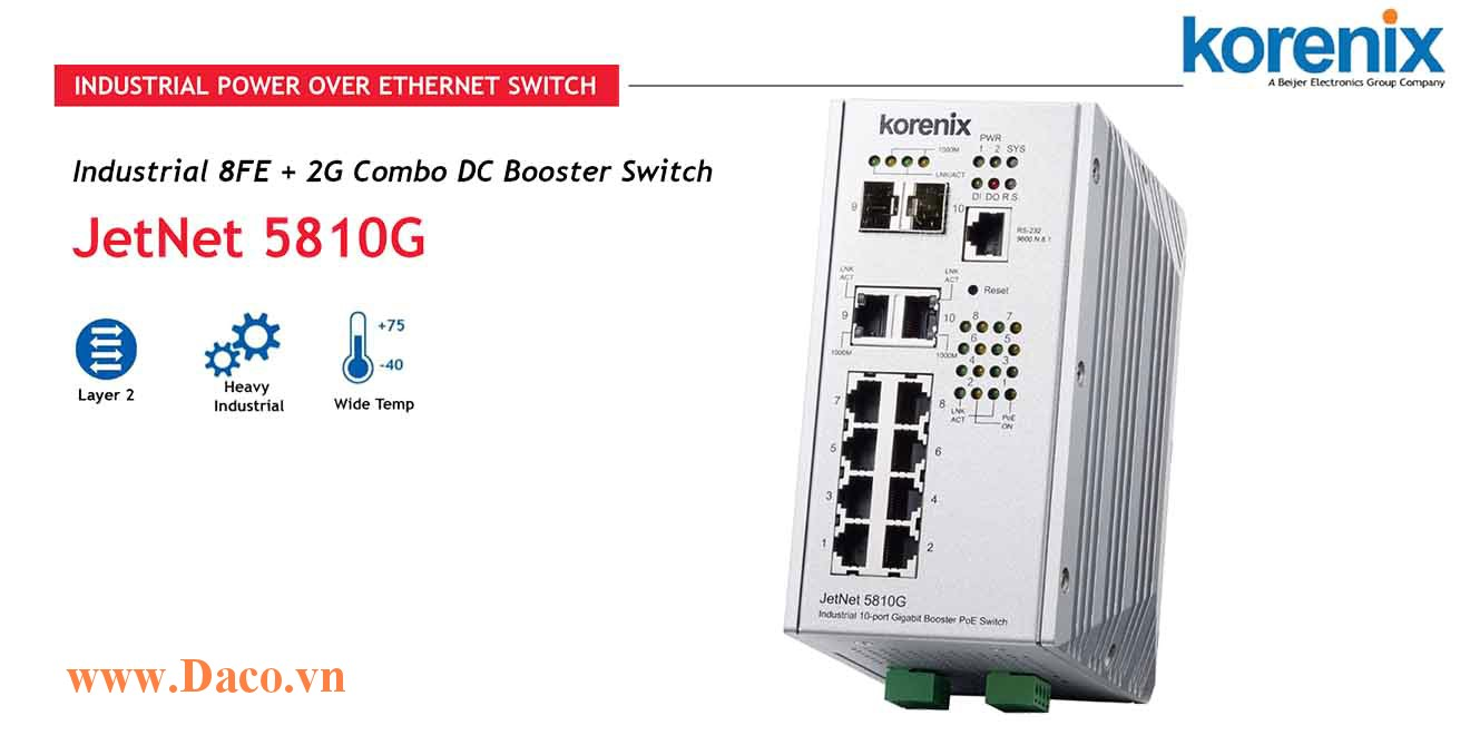 JetNet 5810G Managed Switch công nghiệp Korenix 8 FE, 2 GbE Port