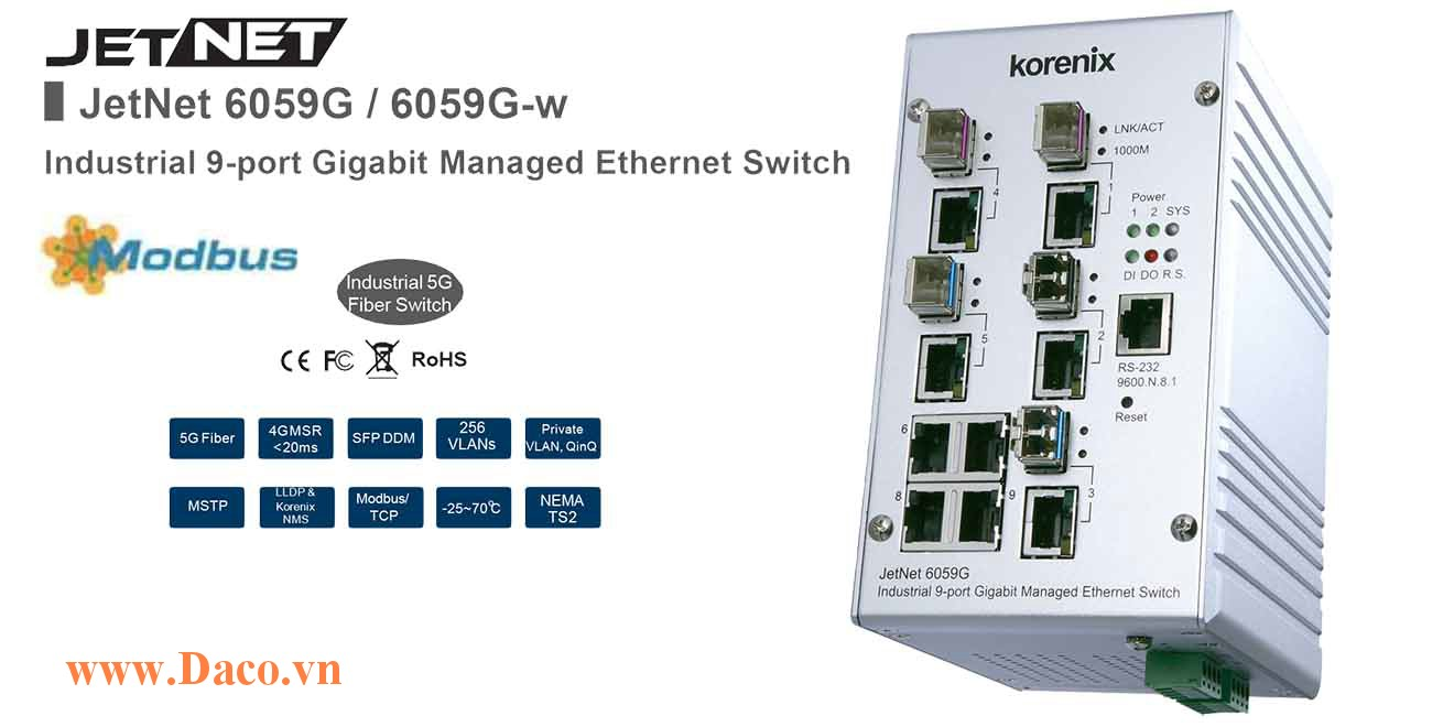 JetNet 6059G Managed Switch công nghiệp Korenix 9 GbE Port