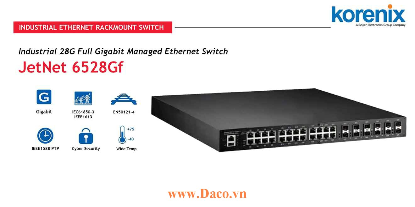 JetNet 6528Gf Managed Switch công nghiệp Korenix 28 GbE Port