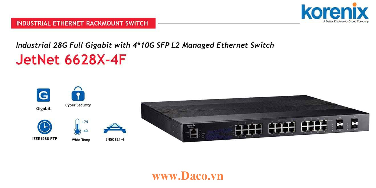 JetNet 6628X-4F Managed Switch công nghiệp Korenix 28 GbE/4*10 GbE SFP Port