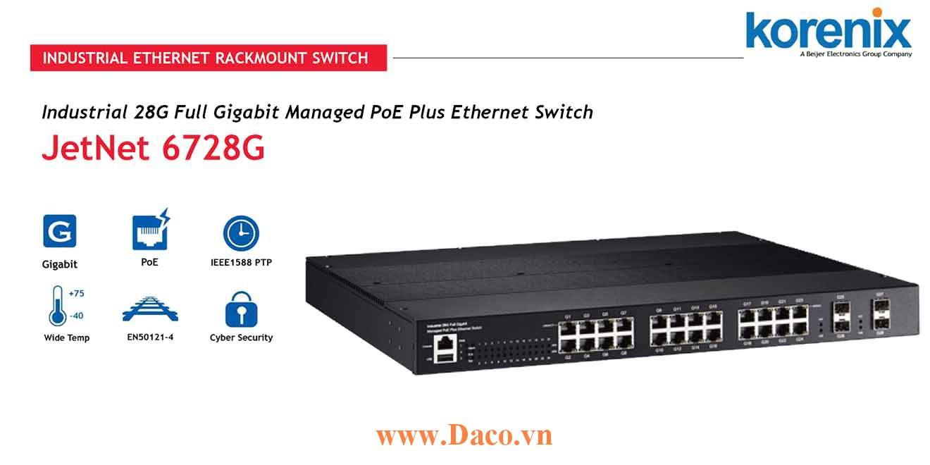 JetNet 6728G Managed Switch công nghiệp Korenix 28GbE, 16/24 ETN Port