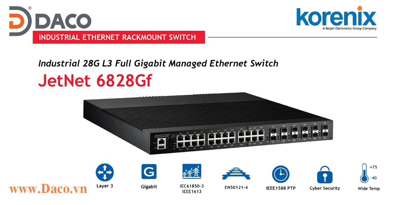JetNet 6828Gf Managed Switch công nghiệp Korenix 16 GbE, 8 GbE SFP Combo, 4 GbE SFP Port