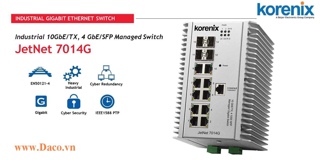 JetNet 7014G Managed Switch công nghiệp Korenix 10 GbE/TX, 4GbE/SFP Port