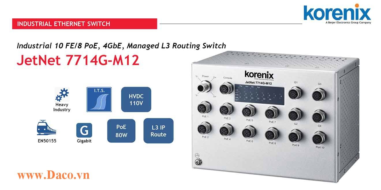 JetNet 7714G-M12 HVDC Managed Switch công nghiệp Korenix 10FE/8 4GbE Port