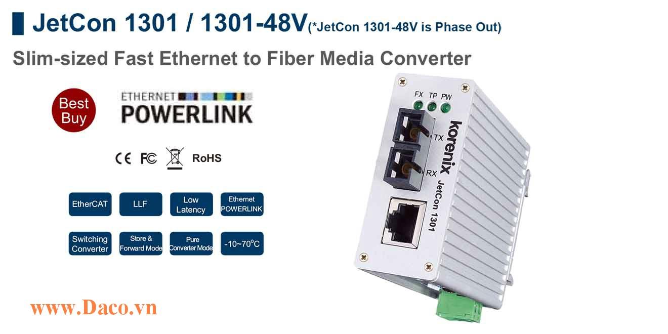JetCon 1301 Bộ chuyển đổi truyền thông từ Fast Ethernet sang cáp sợi quang 1 FE Port
