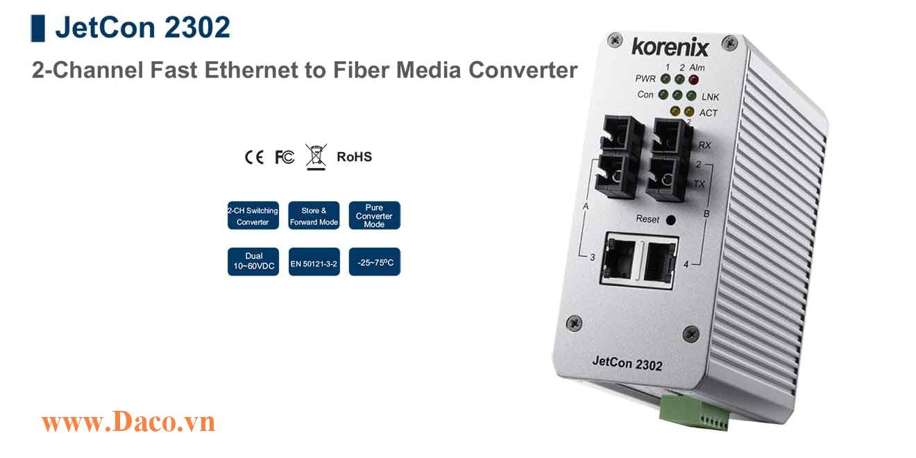 JetCon 2302 Bộ chuyển đổi truyền thông từ Fast Ethernet sang cáp sợi quang 2 FE Port