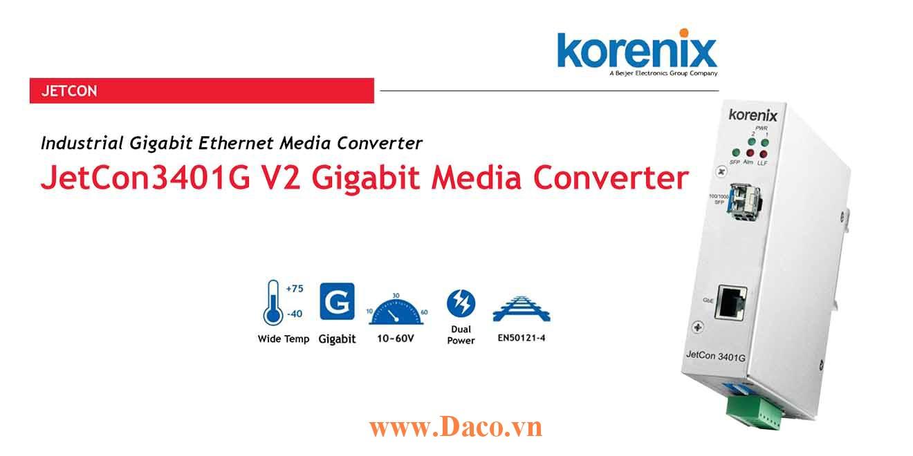 JetCon 3401G Bộ chuyển đổi truyền thông từ Gigabit Ethernet sang cáp sợi quang 1 GbE Port